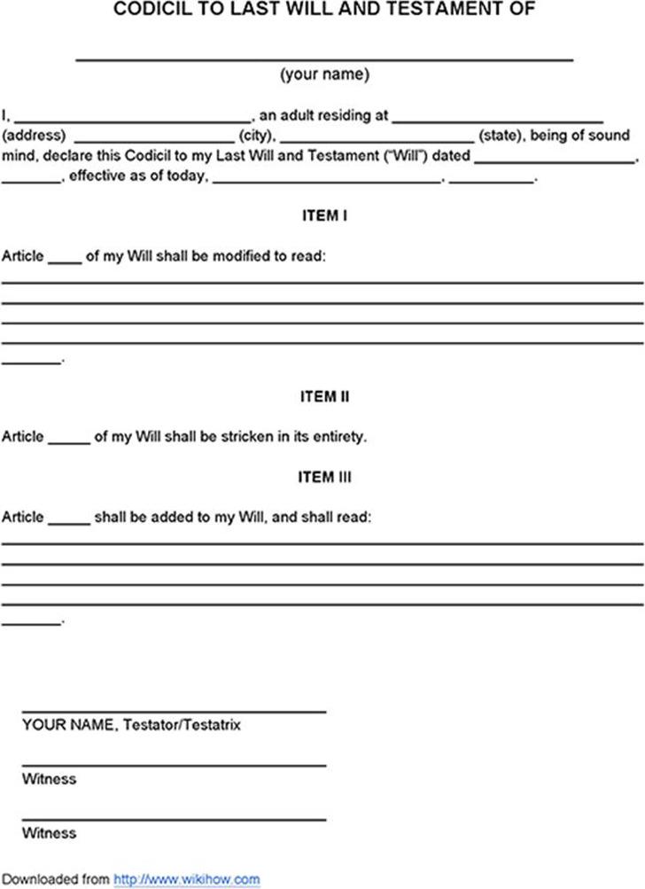 Sample Codicil to Last Will and Testament