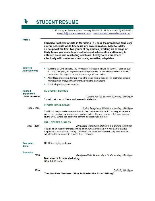 Sample College Resume Template