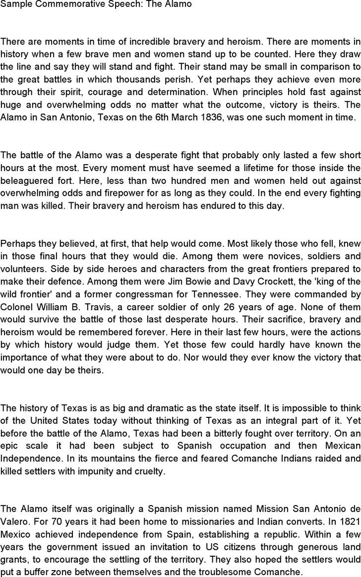 Sample Commemorative Speech: the Alamo