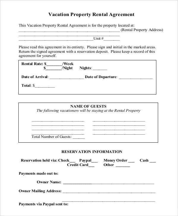 Sample Commercial Property Rental Agreement