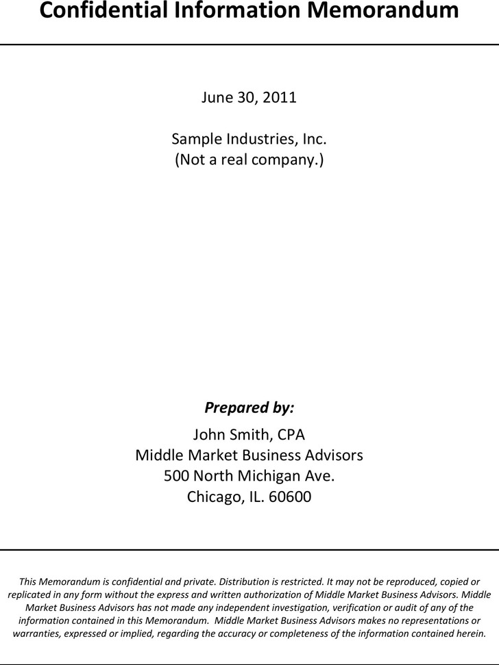 Sample Confidential Information Memorandum Template 1