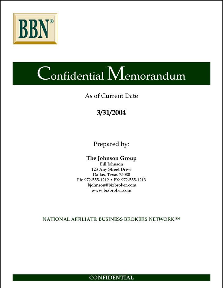 Sample Confidential Memo Template