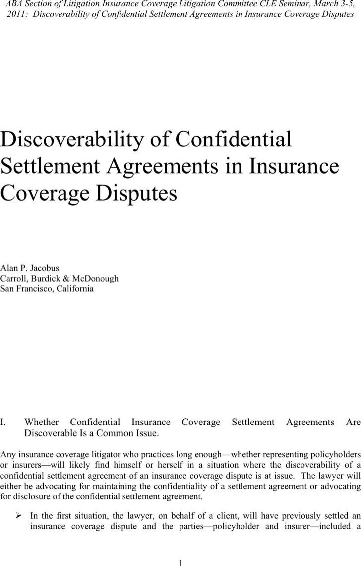 Sample Confidentiality Settlement Agreement For Insurance