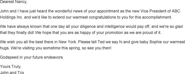 Sample Congratulatory Letter