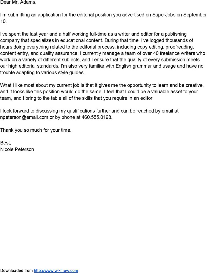 Sample Cover Letter Email