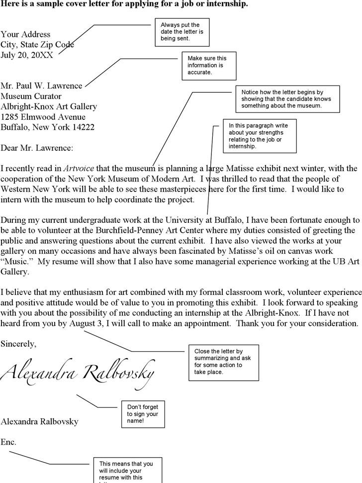 Sample Cover Letter for Applying for an Internship