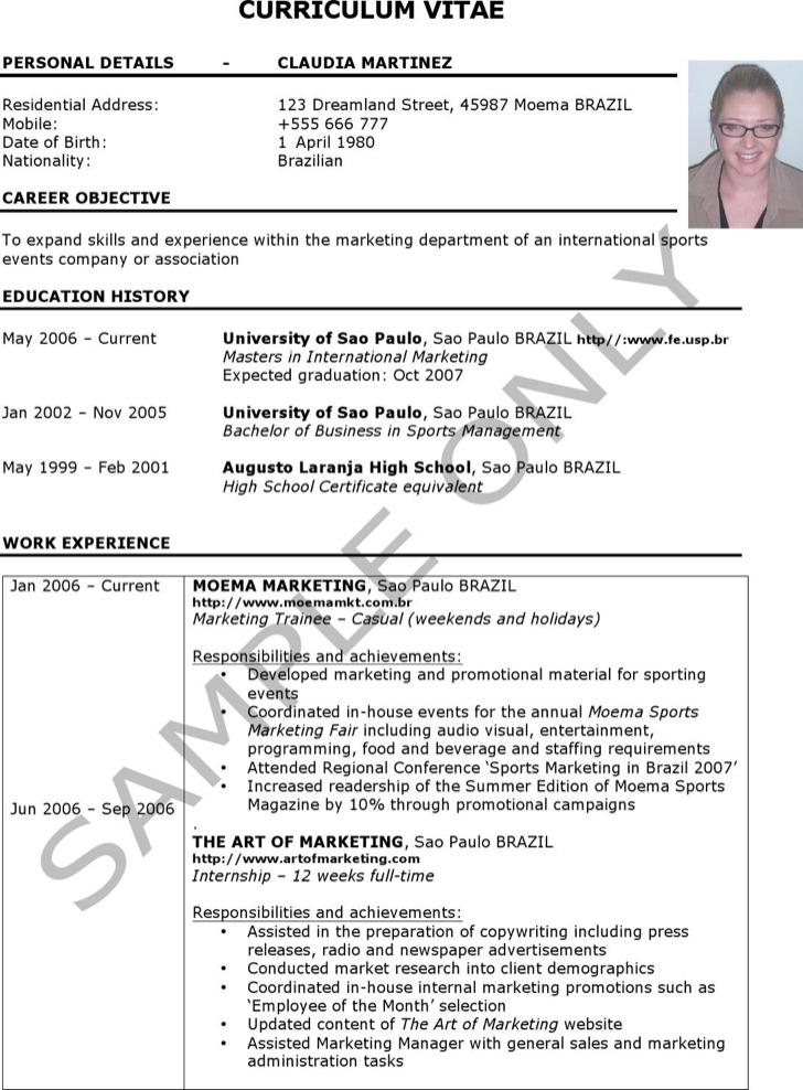Sample Curriculum Resume Template