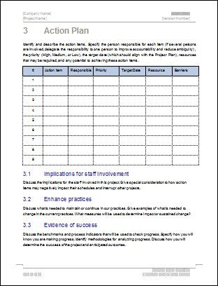 Sample Detailed Project Action Plan