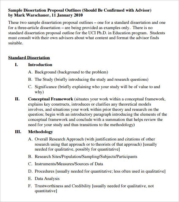 Sample Dissertation Proposal Outline Template