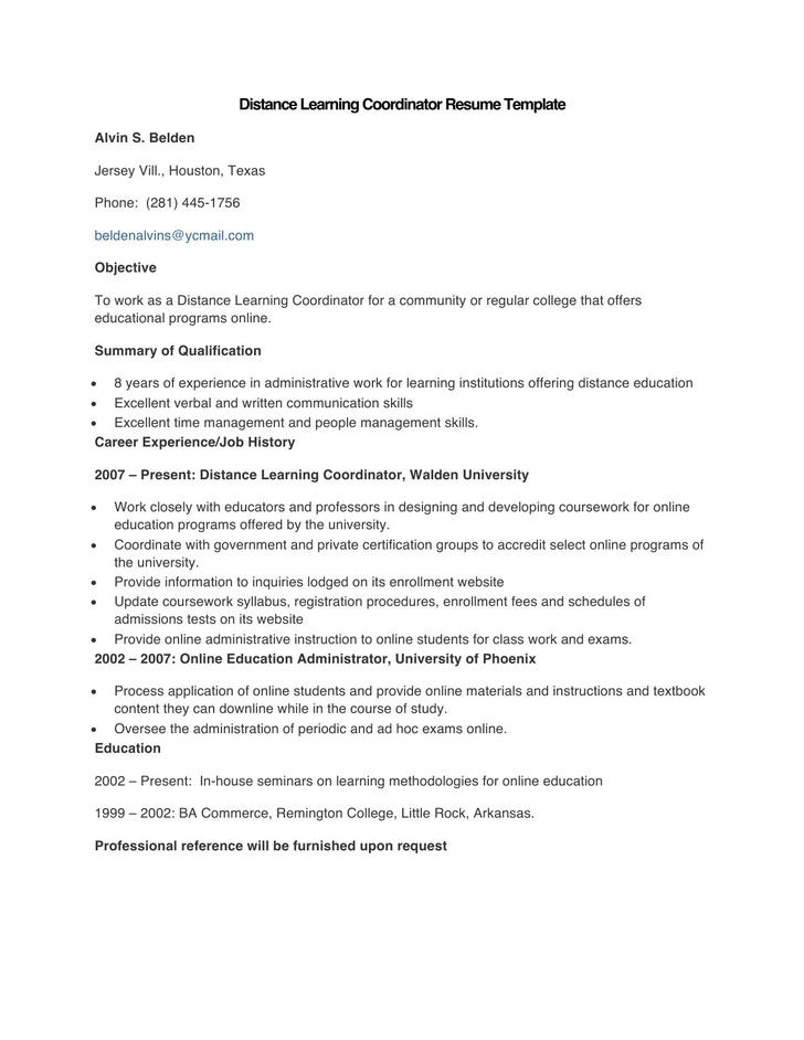 Sample Distance Learning Coordinator Resume Template