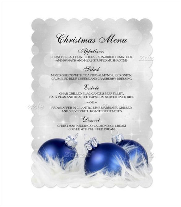Sample Elegant Blue And Silver Christmas Menu Template