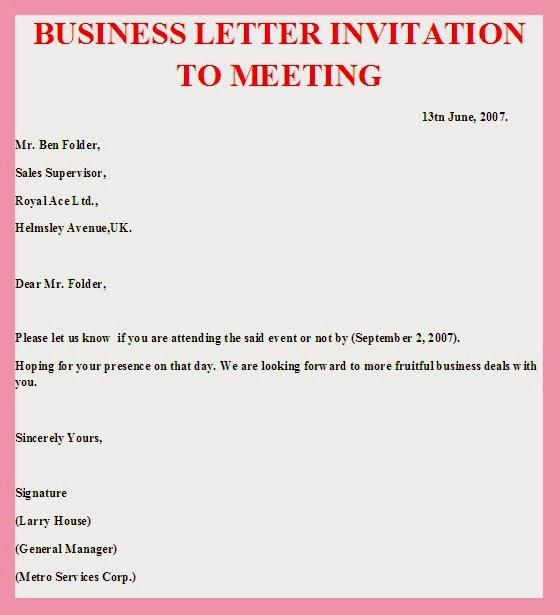 Sample Email Invitation for Meeting Format