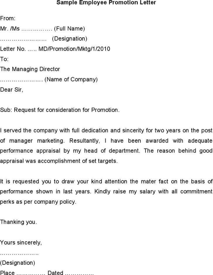 Sample Employee Promotion Letter