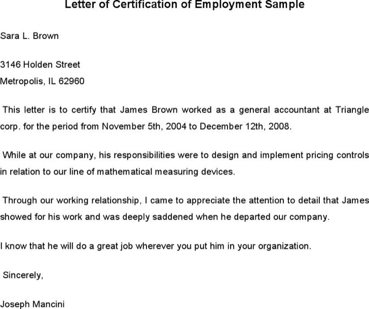 Sample Employment Certificate From Employer