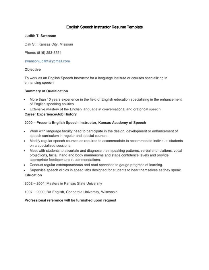Sample English Speech Instructor Resume Template