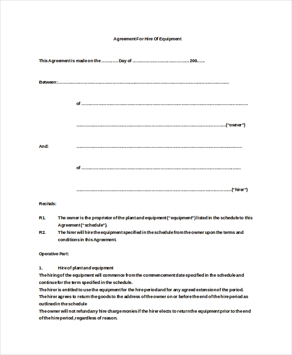 Sample Equipment Hire Agreement