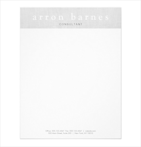 Sample Example Format Simple Light Gray Modern Minimalist Designer Letterhead