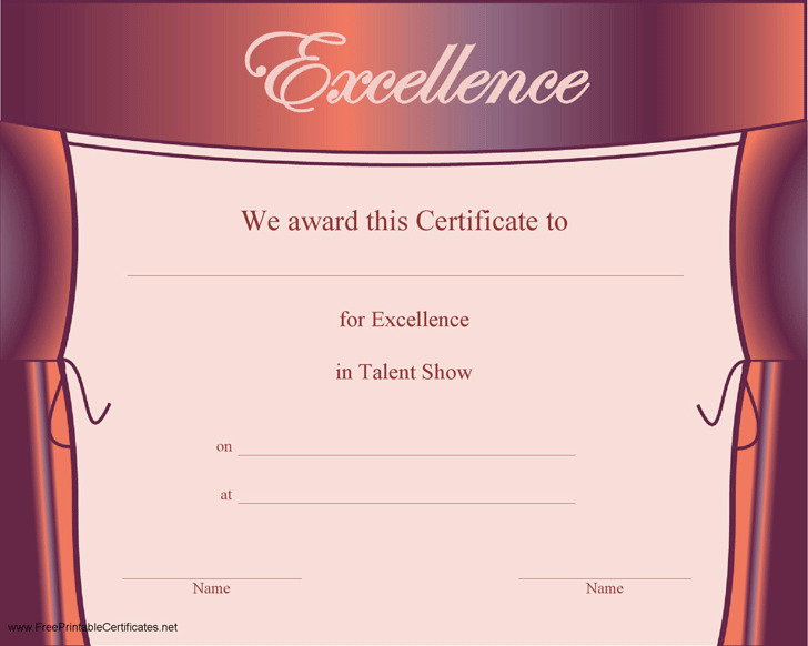 Sample Excellence in Talent Show Certificate