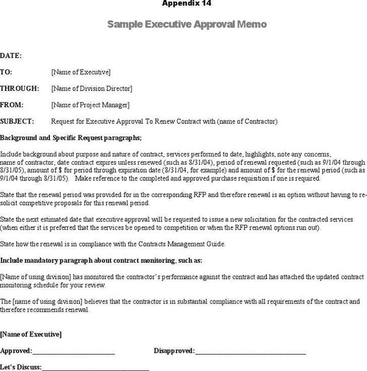 Sample Executive Approval Memo