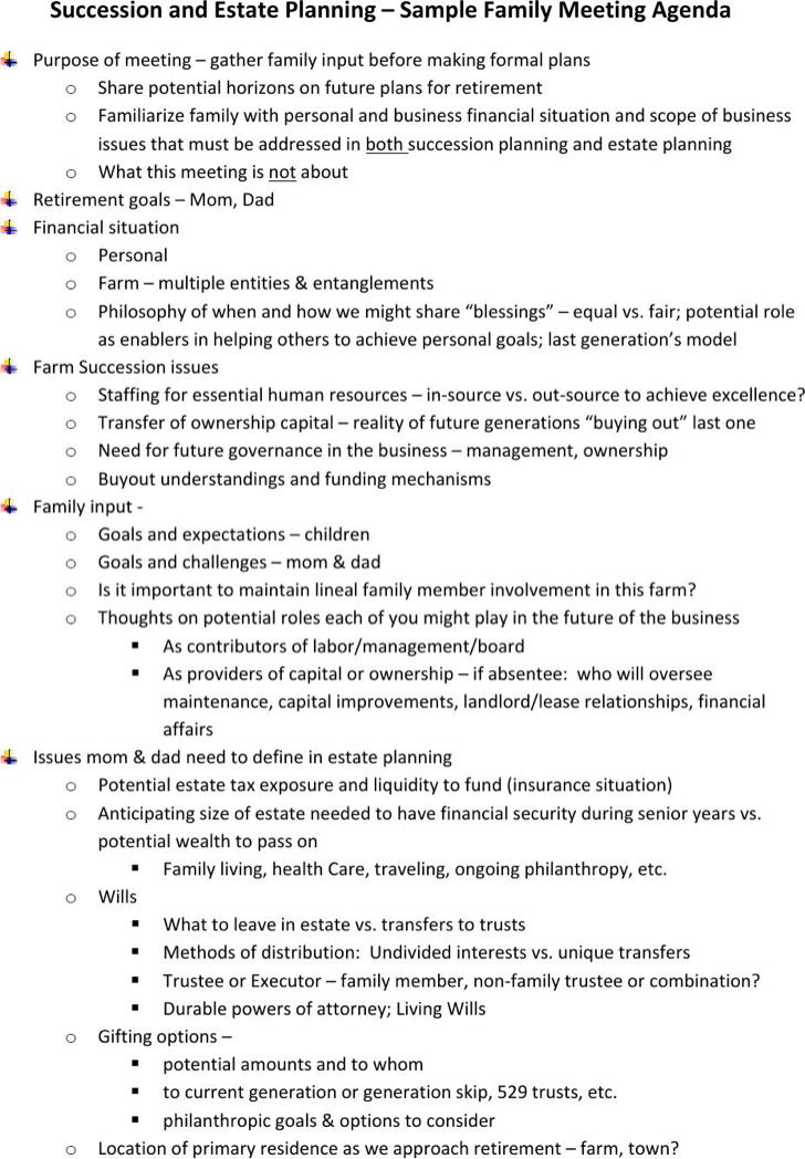 Sample Family Management Meeting Agenda Template