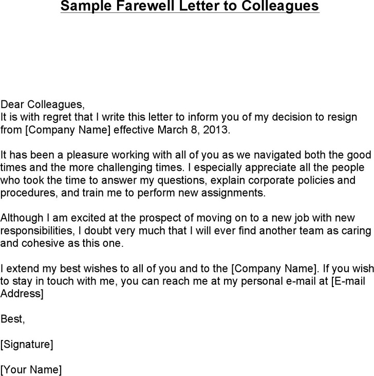 Sample Farewell Letter to Colleagues