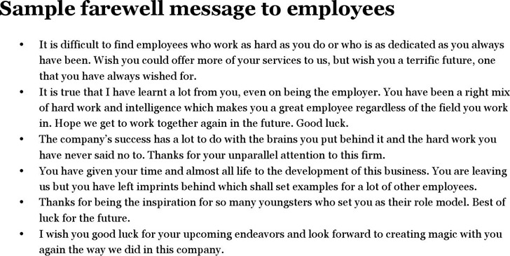 Sample Farewell Message to Employees
