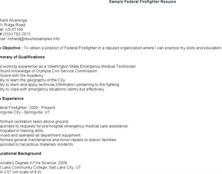 Sample Federal Firefighter Resume