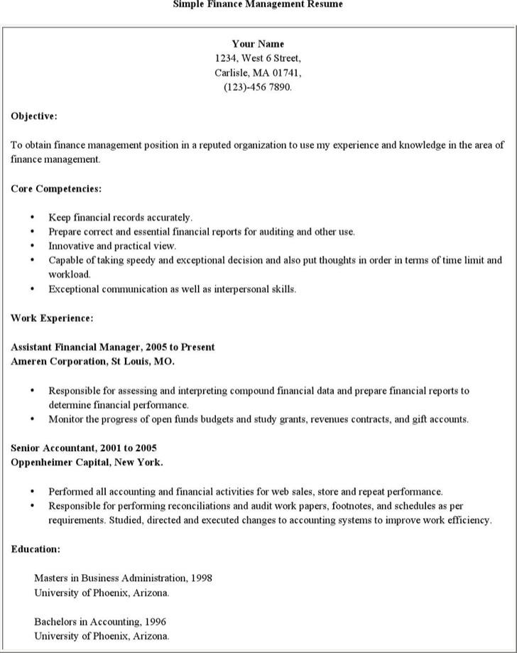 Sample Finance Management Resume