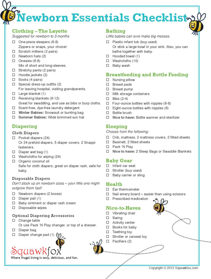 Sample First Time Baby Registry Checklist