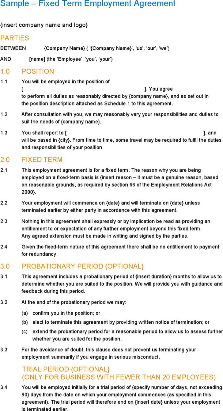 Sample Fixed Term Employment Agreement