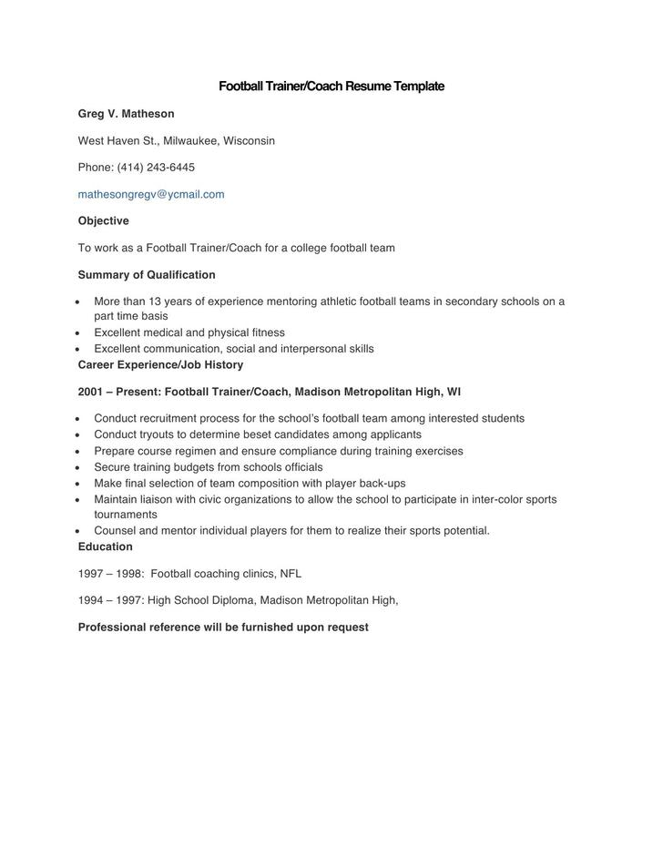 Sample Football Trainer Coach Resume Template