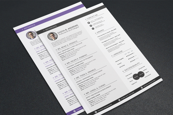 Sample Format Colored Lines Resume Template