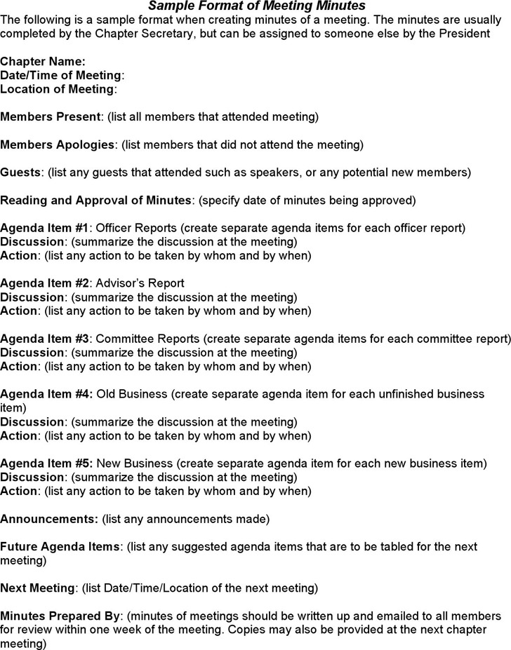 Sample Format of Meeting Minutes