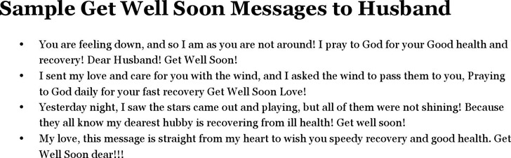 Sample Get Well Soon Messages to Husband