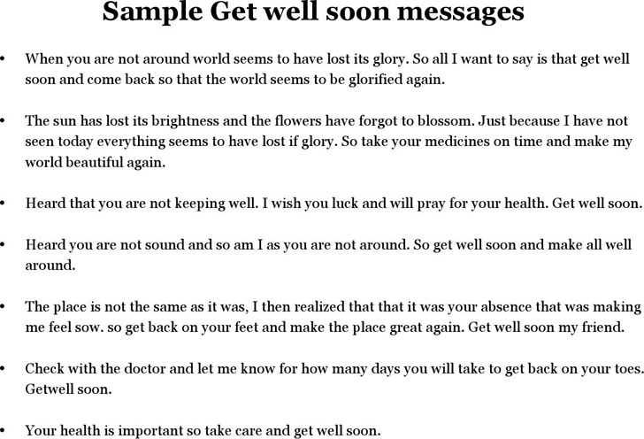 Sample Get Well Soon Messages