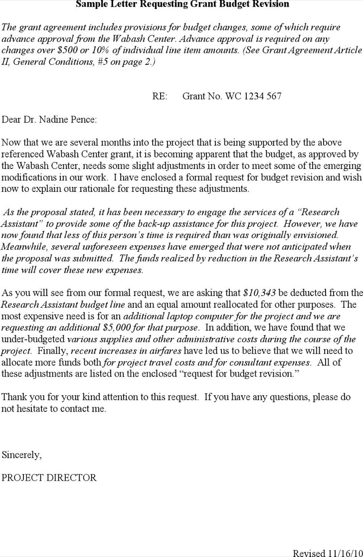 Sample Grant Request Letter Writing Template