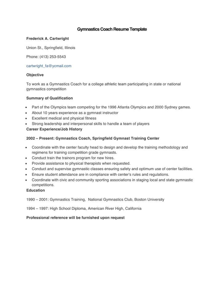 Sample Gymnastics Coach Resume Template