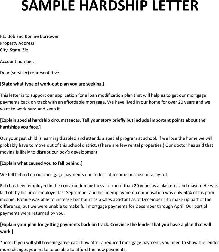 Sample Hardship Letter for Mortgage