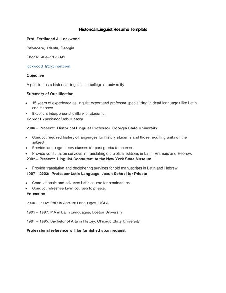 Sample Historical Linguist Resume Template