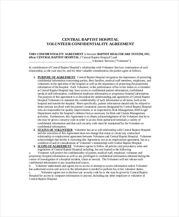 Download Volunteer Confidentiality Agreement Templates For Free