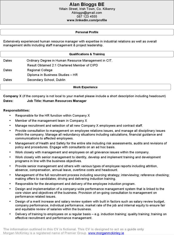 15  hr resume template free download