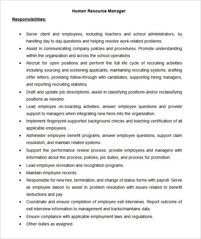 Sample HR Manager Job Description Template