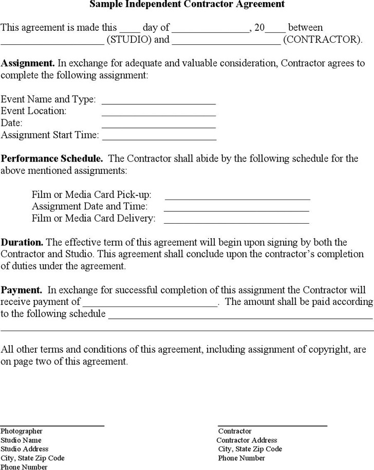 Sample Independent Contractor Agreement 1