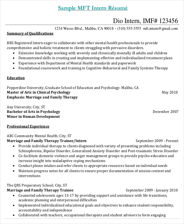 Sample Internship Resume of Medical Assistant