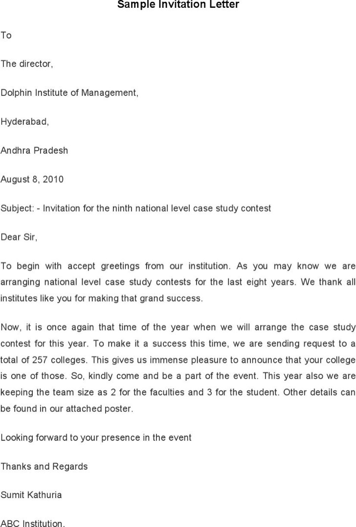 Sample Invitation Letter Template