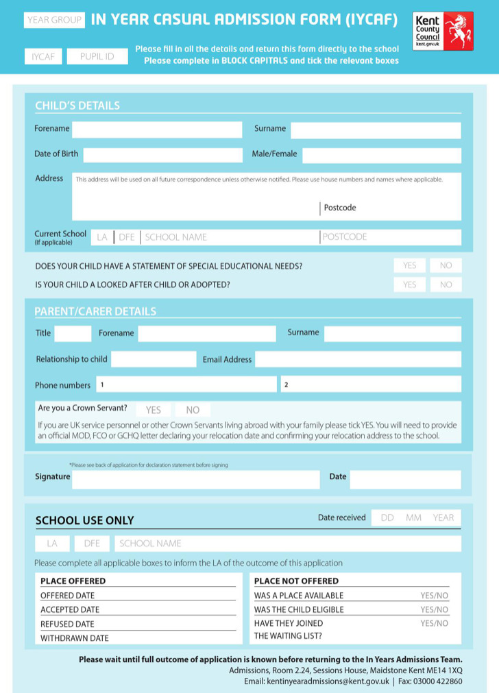Sample Iycaf School Application Form Template Free Download