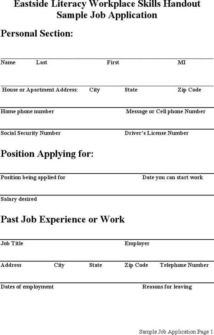Sample Job Application 2
