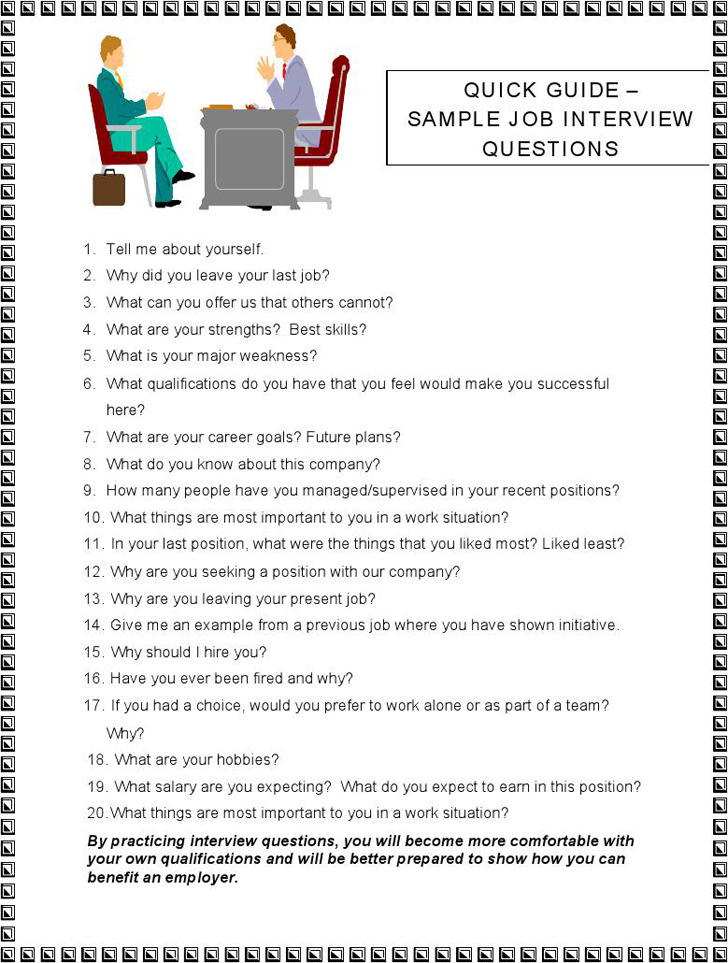 Sample job Interview Questions 2