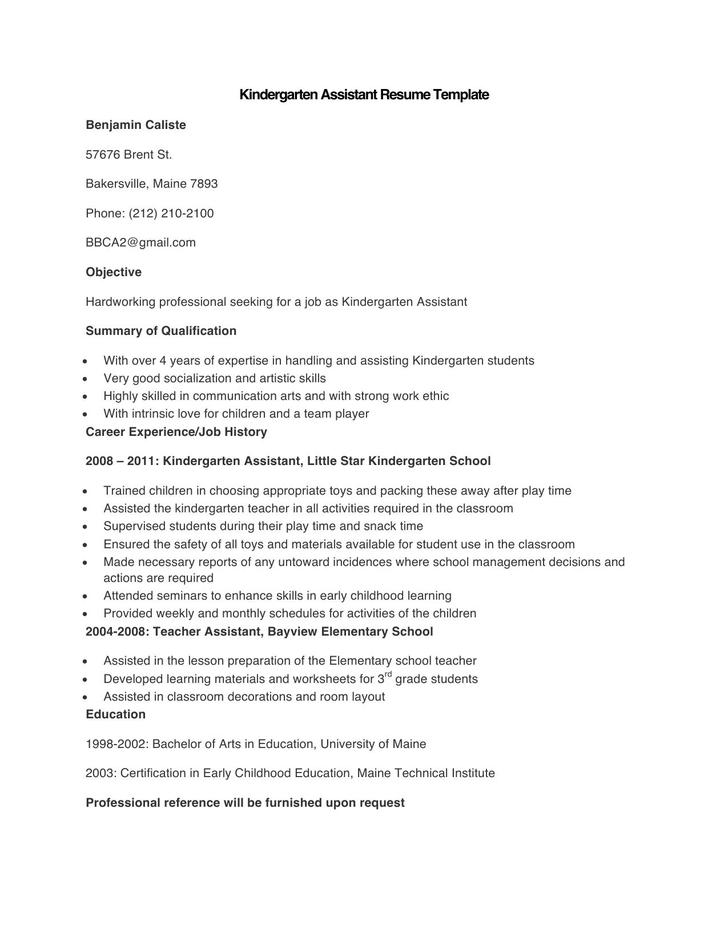 Sample Kindergarten Assistant Resume Template