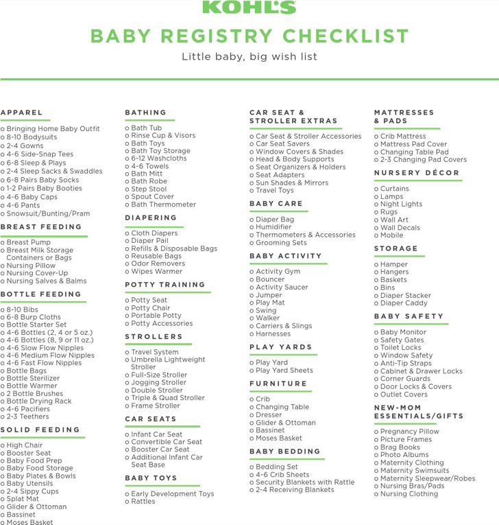 Sample Kohls First Baby Registr Checklist